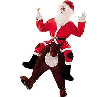Disfraz de Papá Noel a hombros de Reno para adultos: Amazon.es ...