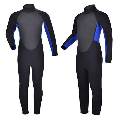 Realon Kids Wetsuit Shorty Full 3mm Premium Neoprene Lycra Swimsuit Toddler Baby Children and Girls Boys Youth Swim Surfing Snorkel Dive Snorkel Back Zip Suit (Youth Full Suit 2mm/3mm / Blue, 4)