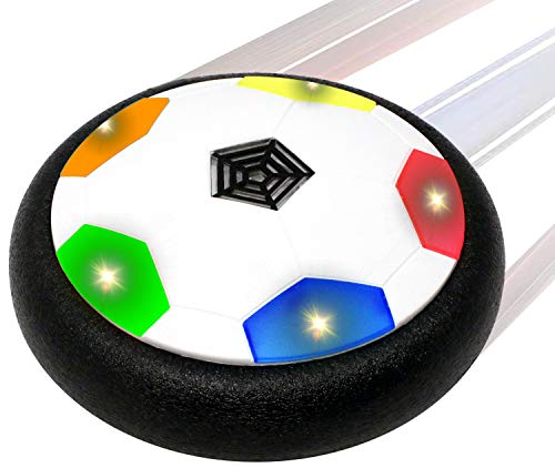 - BamGo Hover Soccer Ball for Toddlers & Kids with Flashing Colored LED Lights – New Hovering Football Toy for Indoor/ Outdoor | Battery Operated Air Floating Disk for Children (Girls & Boys) | w/ eBook