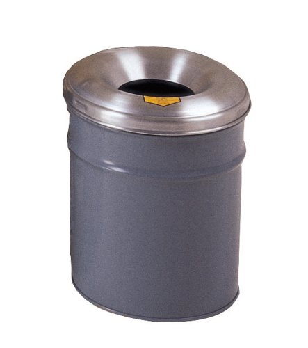 Justrite 26604G Cease-Fire Steel Paper Waste Receptacle with Aluminum Head, 4.5 Gallon Capacity, 12-1/8