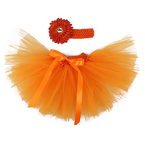 MizHome Newborn Baby Girls Birthday Layered Tulle Tutu Skirt Flower Daisy Headwear Outfits Orange -