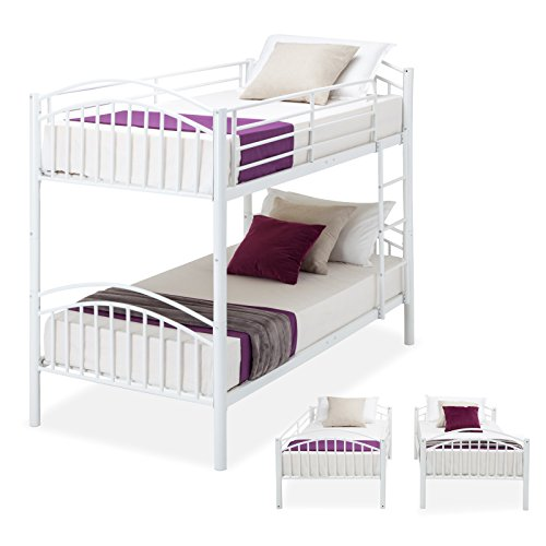 Kids Furniture Loft Beds - Mecor Twin over Twin Metal Removable Bunk Beds Frame Kids/Adult Children Bedroom Furniture with Ladder (White-Convertible)