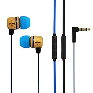 Awei-ES16Hi 3.5mm Plug Wood Style Wired In-ear Stereo Earphone with Microphone for iPhone 6 & 6 Plus, iPhone 5 & 5S & 5C, Samsung Galaxy, Other Phones, Cable Length: about 1.2m (Blue)