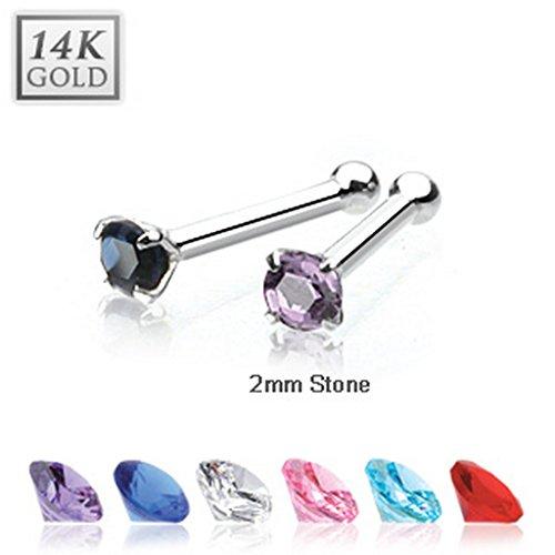 Piercing nez CZ 2 mm en OR blanc 14 carats Taille: 0,8 mm Couleur: Clair