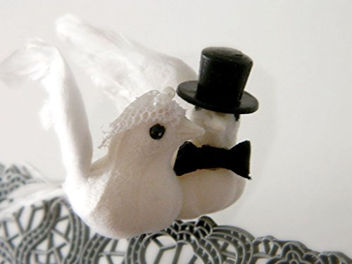 - Wedding Doves Cake Topper with Top Hat & Wedding Veil