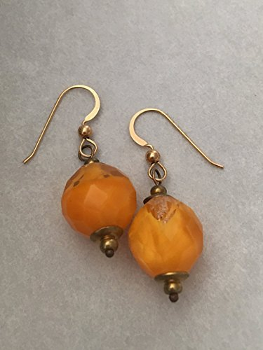 Czech Orange Glass Beaded Dangle Earrings on Gold Filled (French Earwires Handcrafted Artisan Jewelry)
