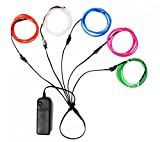 5 x 5 master flash - El Wire Lights Neon Light Electroluminescent Wire Battery Operated 3ft for Halloween Christmas Party Decoration 5 Color Blue White Red Green Pink(5 x 1M)