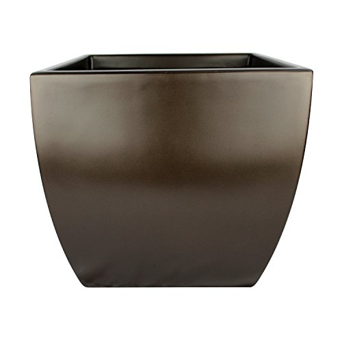 Pacifica Square Curved Fiberglass Planter, Brown, 16 Inch