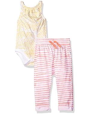Baby Girls' Organic Sleeveless Bodysuit and Pant Set