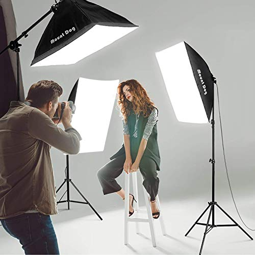 MOUNTDOG 2400W Softbox Photography Lighting Kit 20'x 28' Softbox3 4 Socket Professional Continuous Light Set 12X45W E27 5500K Bulbs for Portrait Photo Video Shooting by MOUNTDOG (Image #6)
