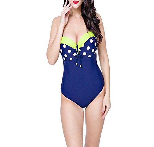 B Dressy Retro dot Plus Size Triangle Swimwear Women was Thin one-Piece Swimsuit,44,Yellow
