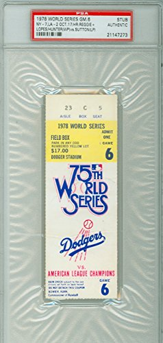 Yankee Game Ticket (1978 World Series Yankees at Dodgers - Game 6 Ticket Stub NY 7-2 HR Reggie Jackson, Davey Lopes [Ticket graded G-VG; staple hole] by Mickeys Cards)