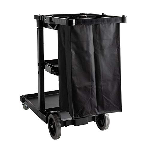Janitorial Commercial Kitchen Housekeeping Rolling Cart with 25 Gallon Vinyl Bag and Shelves (Black and Black Bag) 25 Gallon Vinyl Bag