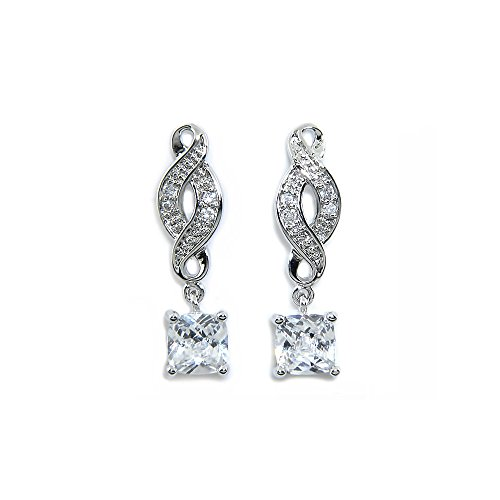Iris Princess (Cate & Chloe Iris Noble 18k White Gold Infinity Drop Earrings, Twilight Sparkling CZ Diamond Earring Box Set for Women, Cute Trendy Wedding Anniversary Fashion Statement Jewelry for Girls MSRP $99)