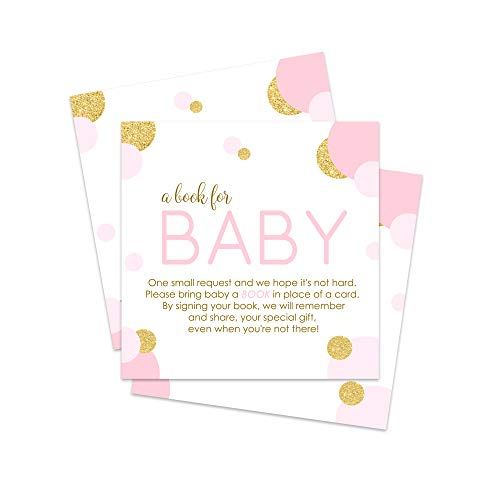 (Pink and Gold Bring a Book for Baby Girls Invitation Insert Cards 25 pc.)