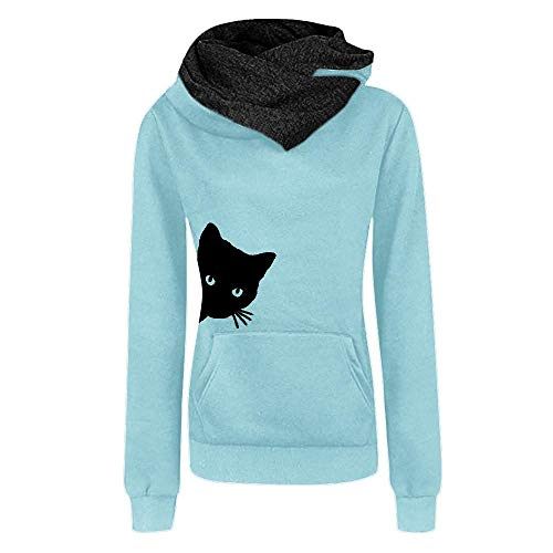 HGWXX7 Women's Casual Cat Print Long Sleeve Hooded Pullover Tops Blouse Sweatshirt(M,Light Blue) for $<!--$6.99-->