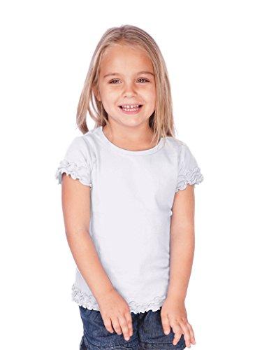 Kavio! Little Girls 3-6X Crew Neck Lettuce Edge Short Sleeve White 5/6