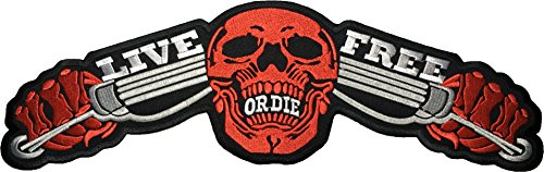 [Large Size] Papapatch LIVE FREE OR DIE Red Skull Ghost Biker Rider Punk Chopper Jacket Vest Costume Sewing on Iron on Embroidered Applique Patch (IRON-LIVE-FREE-RED-SKULL-LARGE)