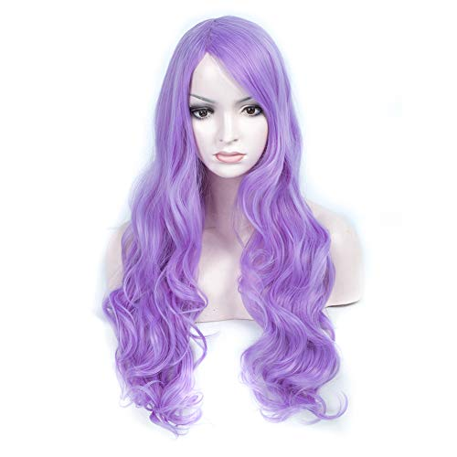 28 Long Big Wavy Hair Wig Women Cosplay Party Costume Wig (28inch, Lavender pink) ()