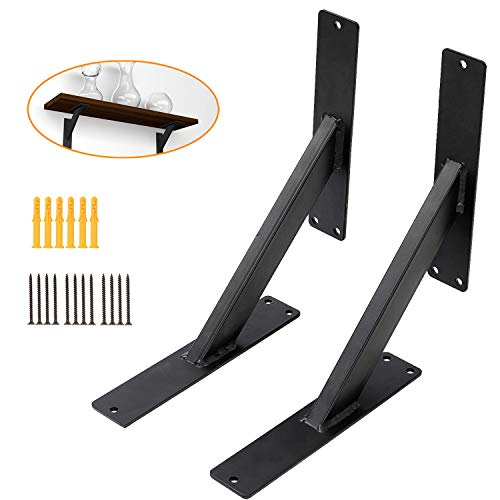 Triangle Shelf Brackets 8'', Wall Mounted Shelving Brackets Corner Supports Floating Wall Hanging Brace (2 Pack, Black) (8' Wall Support)