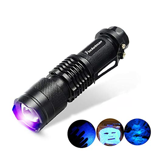 POCKETMAN SK68 One Mode 300LM Zoomable 396nm UV-Ultraviolet LED Blacklights Flashlight for Detecting Pet Dog Stains Checking Passport Money,Cosmetic and More