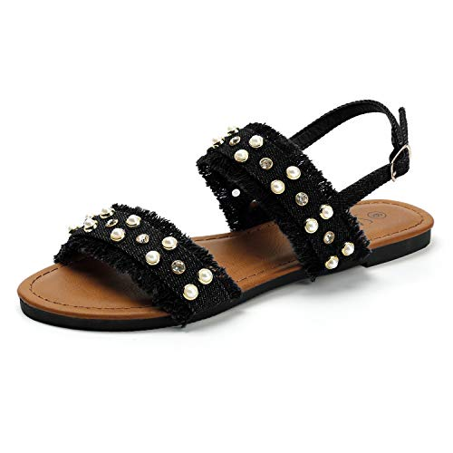 SANDALUP Denim Flat Sandals with Pearl for Women's Summer Black 07
