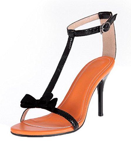VogueZone009 Women High-Heels Solid PU Buckle Open-Toe Sandals Black