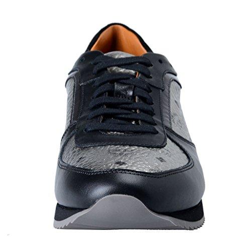 Mcm Jogger Visetos Mens Argento E Nero Moda Sneakers Scarpe Argento E Nero