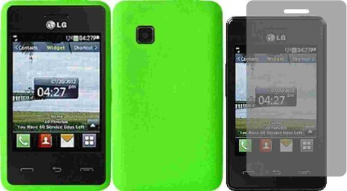 For LG 840G LG840G Silicone Jelly Skin Cover Case Neon Green + LCD Screen Protector Accessory (Lg 840g Jelly Case)