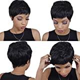 AISI QUEENS Short Human Hair Wigs Pixie Wig for