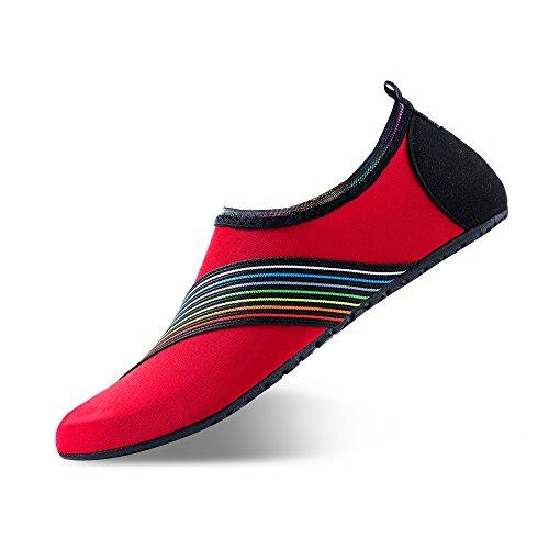 Men Women Water Shoes Quick-Dry Barefoot Aqua Socks Shoes Swim Beach Pool Surf Yoga Sport Rainbow Red