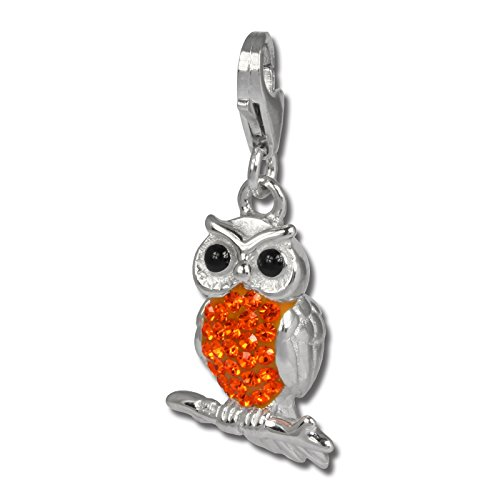 SilberDream Glitter Charm owl with orange Czech crystals 925 Sterling Silver Charms Pendant for Charms Bracelet, Necklace or Earring GSC505O