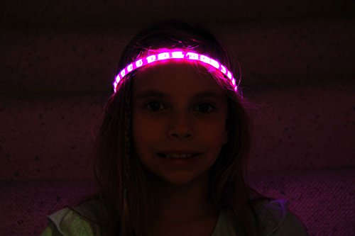Pink Glowbys Hair Accessory (Glowby Bandz Light Strips for Headband, Wristband, Necklace, Anklet- White Strip Pink LEDs)