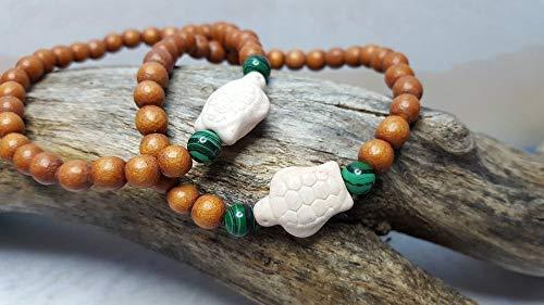 Turtle Bracelet ~ Malachite & Sea Turtle Wooden 5 year Anniversary Gift, Birthday Gift, Friendship Bracelet, Coworker Gift, Stocking Stuffer