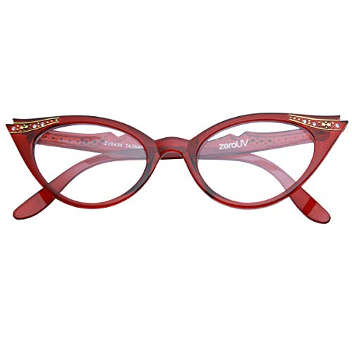 Vintage Cateyes 80s Inspired Fashion Clear Lens Cat Eye Glasses with Rhinestones Linda Belcher Bob's Burgers (Red)