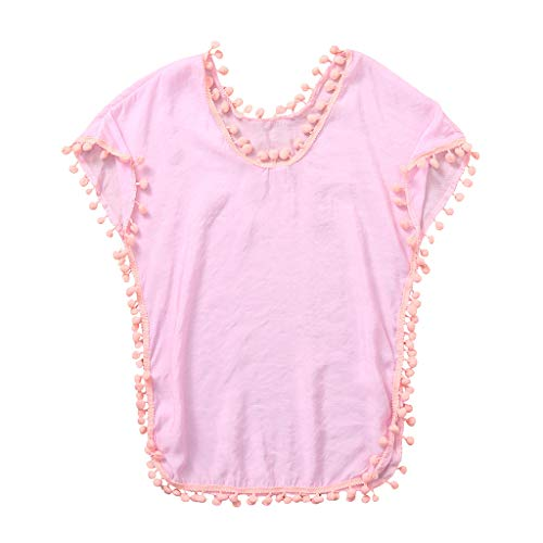 ❤️Ywoow❤️ Summer Baby Romper, Girls Cover-ups Swimsuit Wraps Beach Dress Kids Baby Tops Pompom Tassel (Pink, 3-4 Years Old)