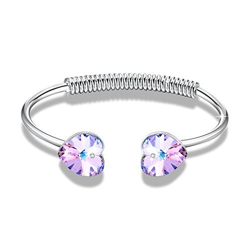 "GEORGE SMITH Charm""Enchanted Heart"" Womens Bangle Bracelets with Swarovski Crystal Amethyst Bracelet Jewelry Birthday Gifts for Her"