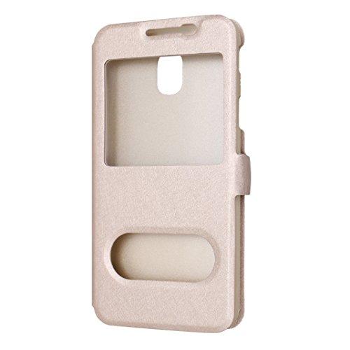 Galaxy J3 2017 Funda Libro, Galaxy J330 Flip Case Cover, Moon mood PU Cuero Cubierta Piel con Tapas Interior Dura PC Parachoque para Samsung Galaxy J3 2017 SM-J330 5.0 pulgada a Prueba de Choques Prot Oro