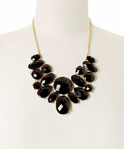 Lux Accessories Black Faceted Oval Bib Necklace
