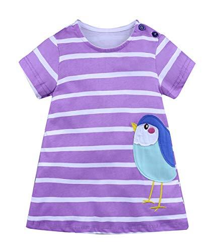 Fashspo Girls Summer Cotton Short Sleeve Casual Dresses Bird Strip Applique Cartoon Shirt, 2T/ 2Years