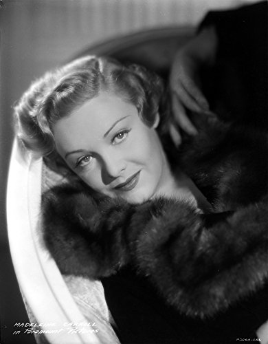 Madeleine Carroll smiling in Black Fur Coat Portrait Photo Print (24 x 30) -