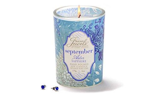 Secret Jewels September Birthstone 6 Oz. Candle Jar, Aster Scent, Sapphire