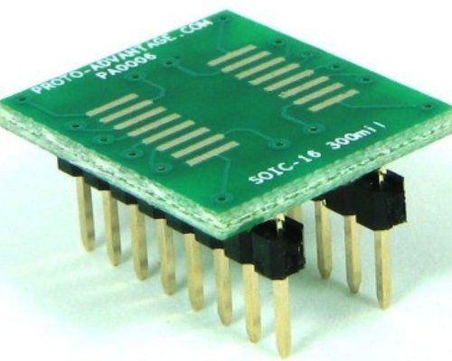 Proto-Advantage SOIC-16 to DIP-16 SMT Adapter (1.27 mm pitch, 300 mil body) ()