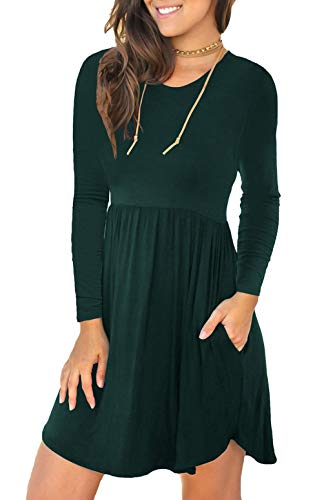 Unbranded* Women's Long Sleeve Loose Plain Dresses Casual Short Dress with Pockets Dark Green Medium