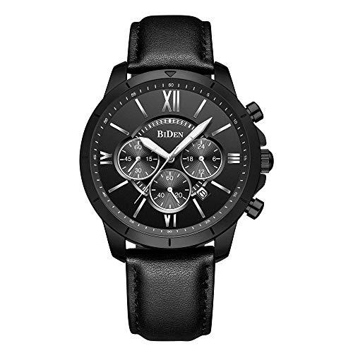Men's Analog Watch Chronograph Quartz Watches Business Casual Roman Numerals Black Leather Strap Wrist Watches for Men