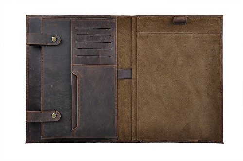 Rustic Leather Laptop Portfolio Case with Notepad Holder, Fits 13 inch Macbook Air / Macbook Pro,Brown by iCarryAlls (Image #1)