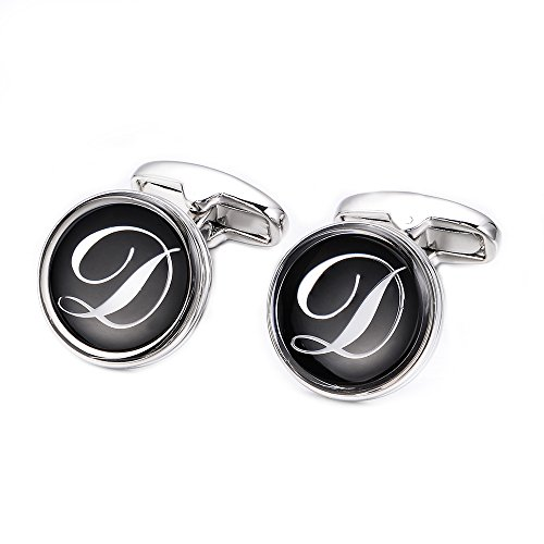 Merit Ocean Mens Letter Initial Cufflinks Alphabet Rhodium Plated Cuff Links Wedding Business A-Z by MERIT OCEAN