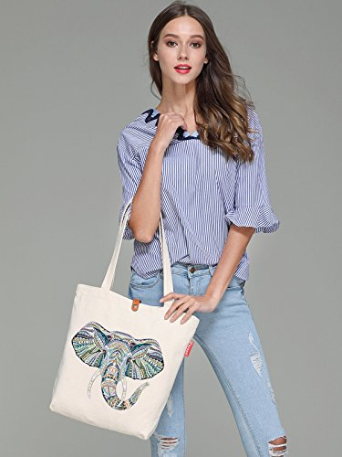 So'each Women's Elephant Geometry Graphic Top Handle Canvas Tote Shoulder Bag