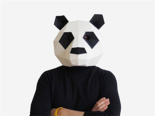 Panda new creative mask head sets of paperwork DIY handmade material package Halloween party makeup party