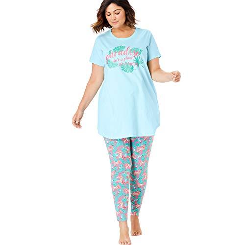 (Dreams & Co. Women's Plus Size Graphic Tunic Pj Set - Powder Turq Paradise, 30/32)
